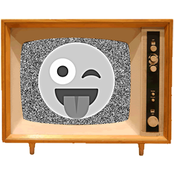 Black & White Emoji TV messages sticker-2