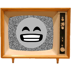 Black & White Emoji TV messages sticker-11