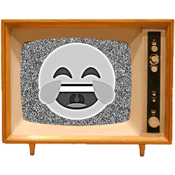 Black & White Emoji TV messages sticker-4