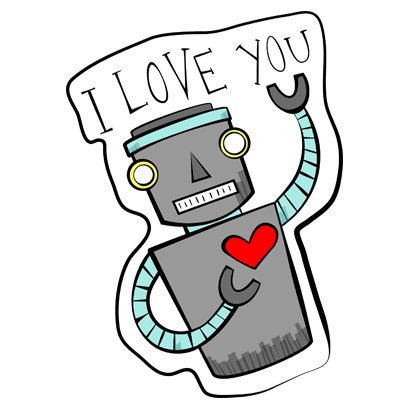 Vintage Robot messages sticker-8