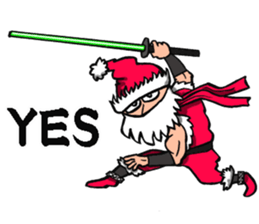 Stickers Of Funny Ninja Santa Claus messages sticker-9