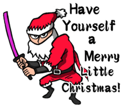 Stickers Of Funny Ninja Santa Claus messages sticker-3