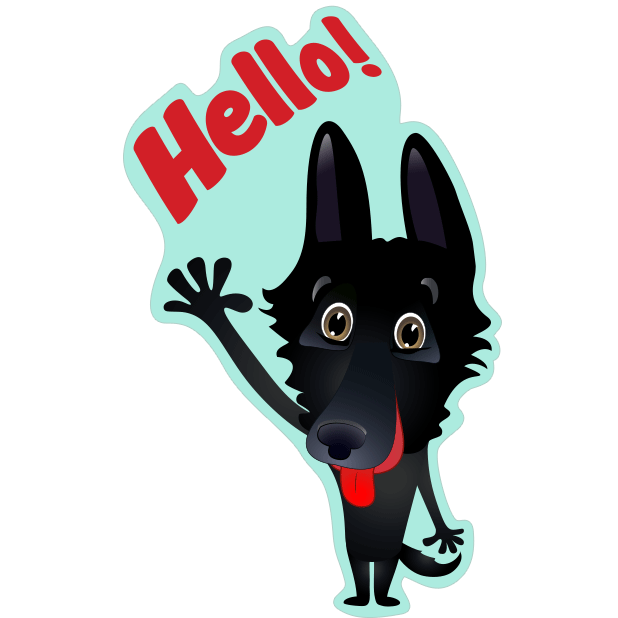 Nero the Black Dog Cute Funny Comic Pet Stickers messages sticker-0