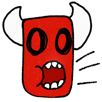 Red monster faces stickers messages sticker-10