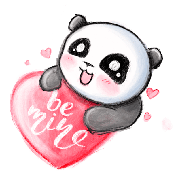 Be My Panda Valentine - Hand drawn love stickers messages sticker-0
