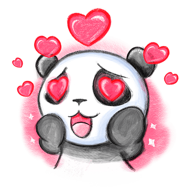 Be My Panda Valentine - Hand drawn love stickers messages sticker-9