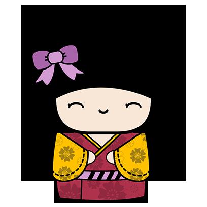 Kokeshi Animated Japanese Dolls messages sticker-2