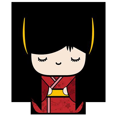 Kokeshi Animated Japanese Dolls messages sticker-1