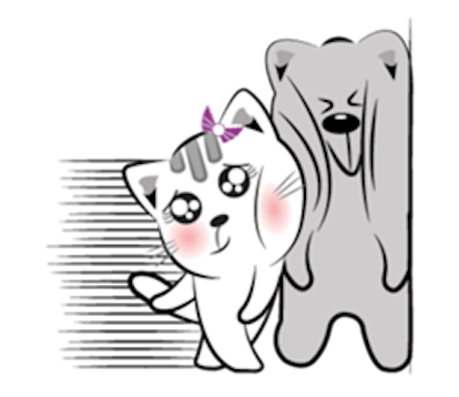 Cat and Bear Lovely messages sticker-0