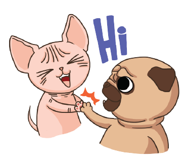 Lily Pug and Loki Sphynx. Stickers by Design73 messages sticker-2