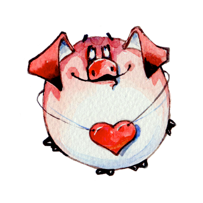 Watercolor Piggies messages sticker-1