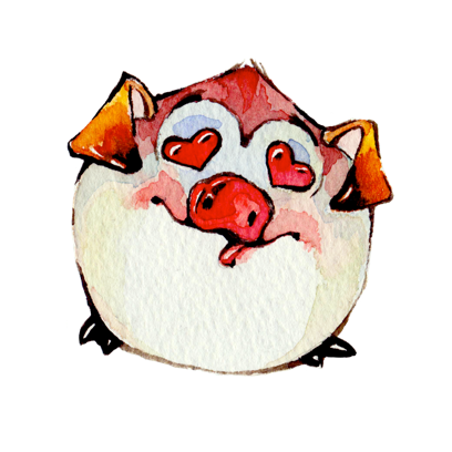Watercolor Piggies messages sticker-10