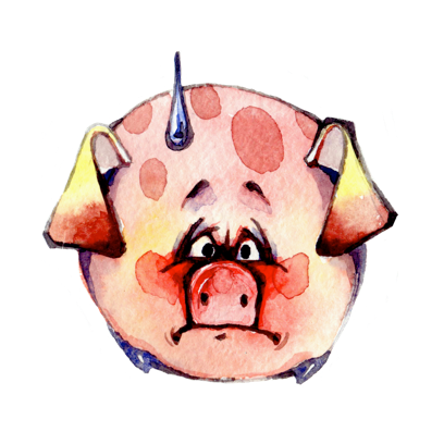 Watercolor Piggies messages sticker-4