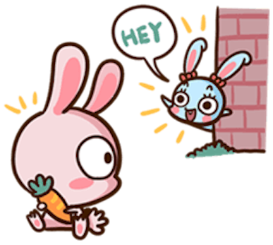 Pinky Bunny Cute messages sticker-1
