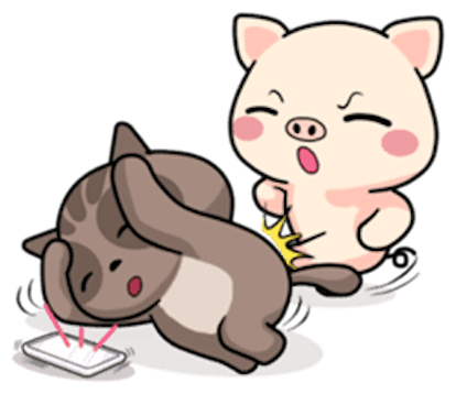 Pig and Cat Lovely Friend messages sticker-9