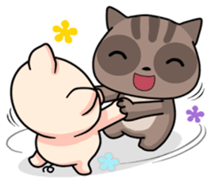 Pig and Cat Lovely Friend messages sticker-11