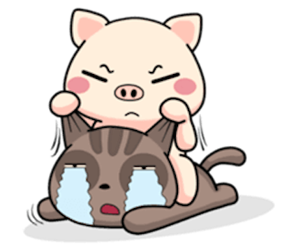Pig and Cat Lovely Friend messages sticker-2