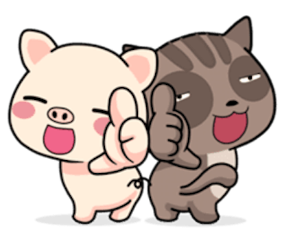 Pig and Cat Lovely Friend messages sticker-0