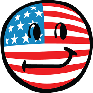 Smiley American Flags messages sticker-2