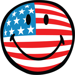 Smiley American Flags messages sticker-0