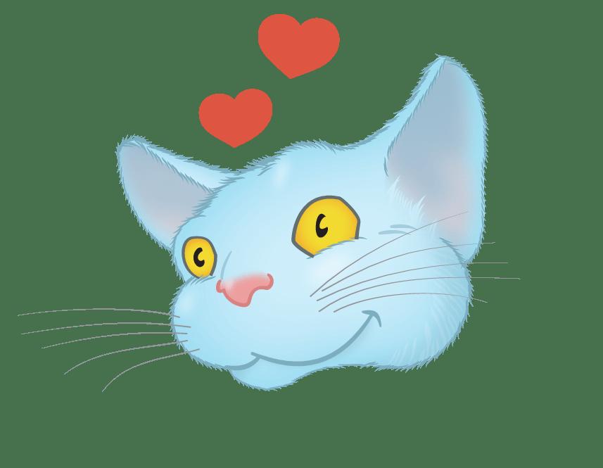 Blue Cat emoji messages sticker-8