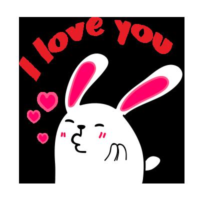 Lovely rabbit emoji messages sticker-1