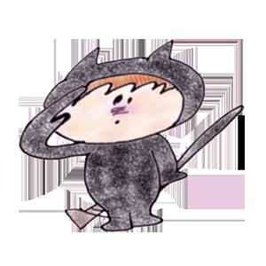 Black cat KURO 1 stickers messages sticker-2