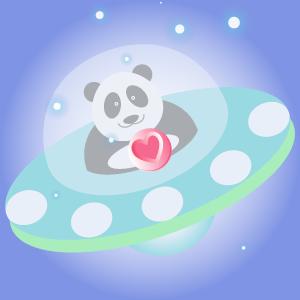 Panda UFO messages sticker-2