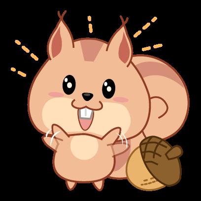 Kwipi Squirrel Love Acorn messages sticker-0