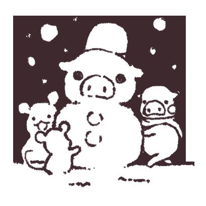 ゆるいブタの日常〈冬〉 messages sticker-3