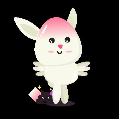 Fluffy - kawaii bunny stickers messages sticker-6