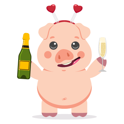 Piggy New Year's Eve Stickers messages sticker-0