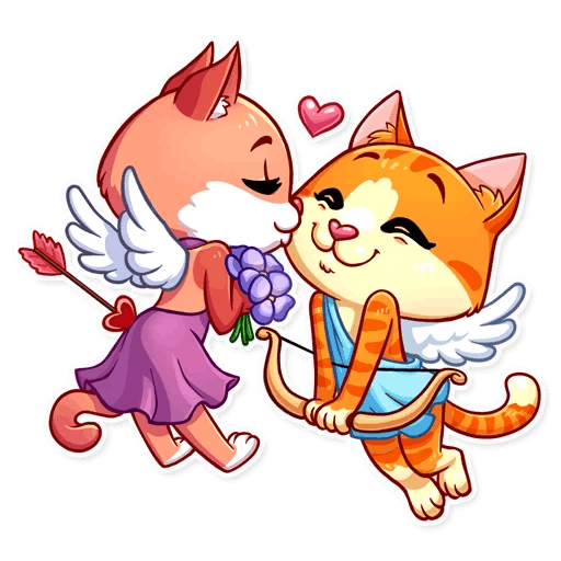 Cupid Cat Love Stickers messages sticker-1