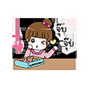 Pink Thai Girl Stickers messages sticker-2