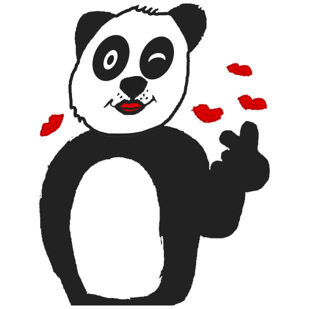 Panda with character messages sticker-4