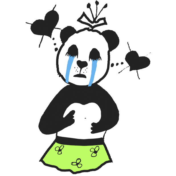 Panda with character messages sticker-5