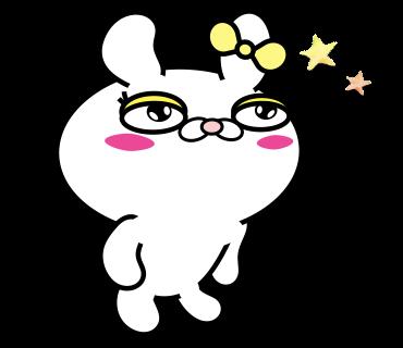 Blusher rabbit adult girls messages sticker-6