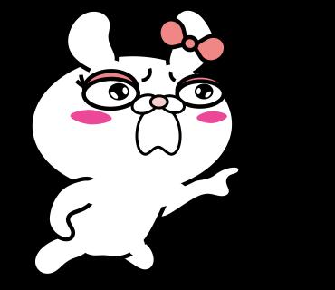 Blusher rabbit adult girls messages sticker-8