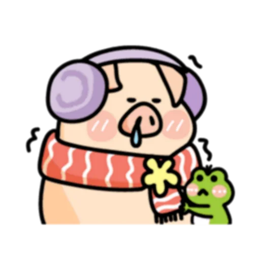 Piggy Duby&Frog Bady -Stickers messages sticker-1