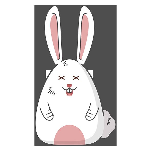 Fat rabbit long ears messages sticker-11