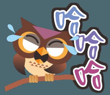 糊涂的猫头鹰 messages sticker-7
