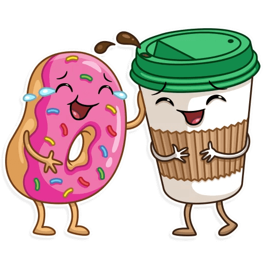 Coffee with Donut Stickers messages sticker-0