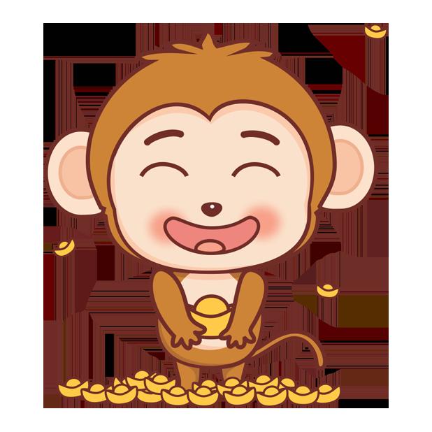 可爱黄猴子 messages sticker-4