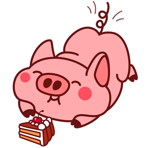 Selling cute little red pig messages sticker-3