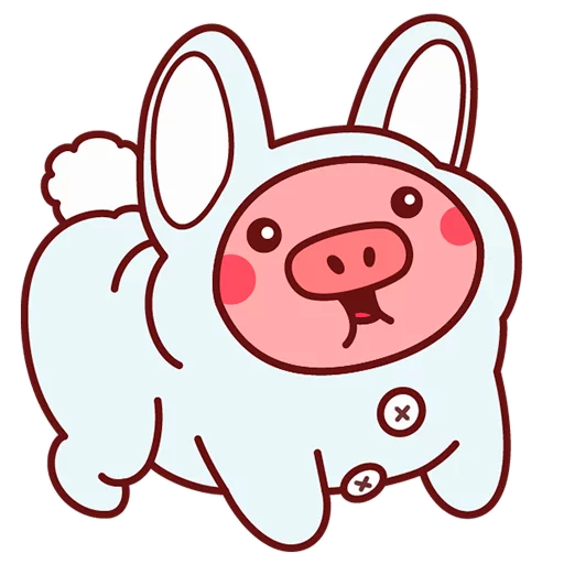 Selling cute little red pig messages sticker-11