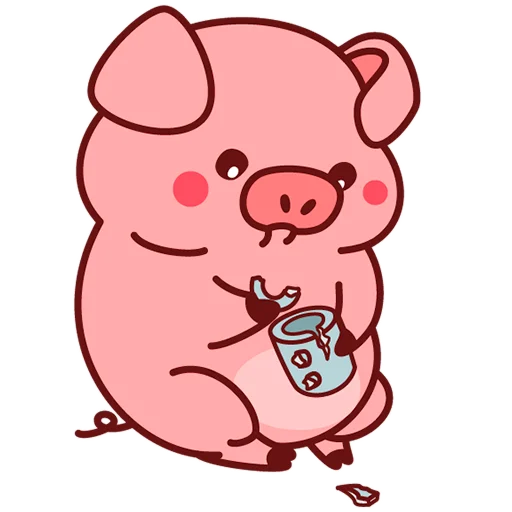 Selling cute little red pig messages sticker-9
