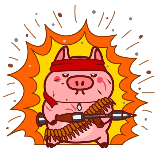 Selling cute little red pig messages sticker-1