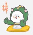 恐龙装懒熊 messages sticker-0