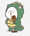 恐龙装懒熊 messages sticker-5